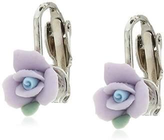 1928 Jewelry Silver-Tone Purple Porcelain Rose Clip-On Earrings