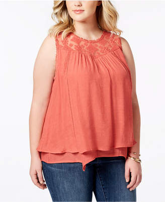ee1cd9acf1b96 Style   Co Plus Size Lace-Yoke Crochet-Trim Tiered Top