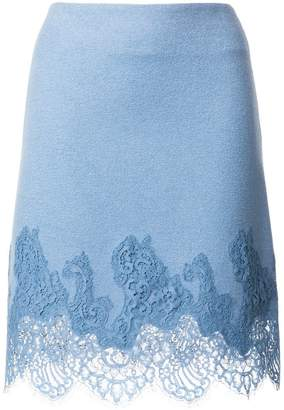 Ermanno Scervino lace embroidered fitted skirt