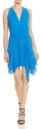 Halston Belted Handkerchief-Hem Dress
