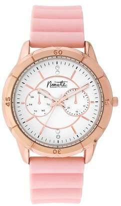 Nanette Lepore NANETTE Women's Pink Rubber Sport Watch, 39mm