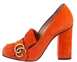 Gucci Suede Marmont Pumps Orange Suede Marmont Pumps
