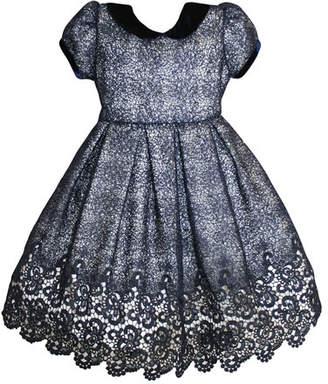 Isabel Garreton Floral Mesh Lace Velvet-Trim Dress, Size 2-8
