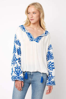 Z & L Embroidered Billow Sleeve Peasant Blouse