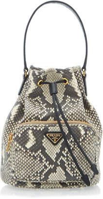 Prada Python Print Leather Bucket Bag