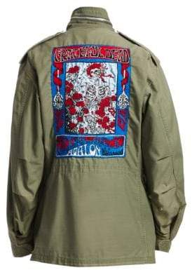 R 13 Skull & Rose Embroidery Field Jacket
