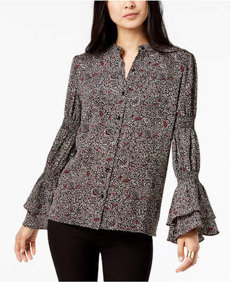 Michael Kors Printed Flared-Sleeve Button-Front Shirt