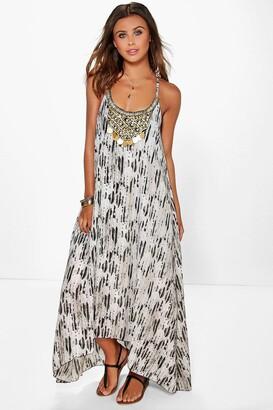 b9d698c18e8f boohoo Petite Snake Print Beaded Hanky Hem Dress