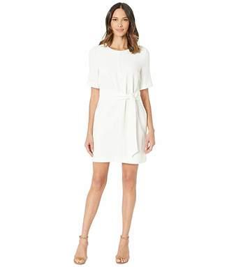 Vince Camuto Short Sleeve Parisian Crepe Belted Dress