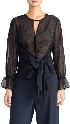 Rachel Roy Collection Swiss Dot Tie Blouse
