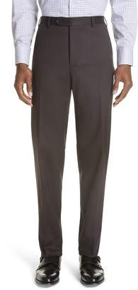 Canali Cavaltry Flat Front Solid Stretch Wool Trousers