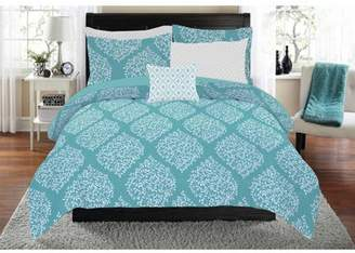 Mainstays Leaf Damask Bed in a Bag Coordinating Bedding Set