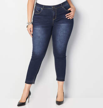 Avenue Released Hem Ankle Jean in Dark Wash