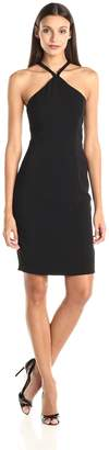 Carmen Marc Valvo Women's Crepe Short Beaded Halter Dress