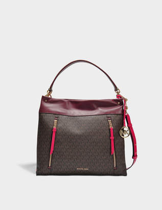 MICHAEL Michael Kors Lex Large Convertible Hobo Bag in Brown Monogrammed Canvas and Burgundy Leather