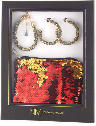 Berry Jewelry Sequin Pouch, Earrings & Bracelet Gift Set, Red/Gold