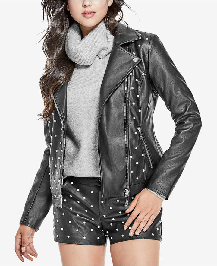 Guess Rocky Embellished Faux-Leather Jacket