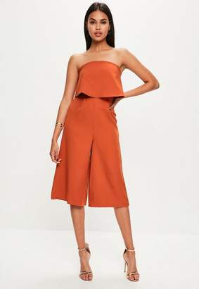Missguided Orange Layered Culottes Romper