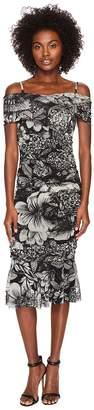 Fuzzi Short Sleeve Off Shoulder Dress In Botanic Women's Dress