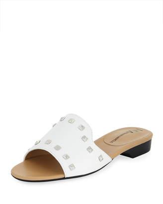 Neiman Marcus Branie Studded Napa Slide Sandal with Silvertone Hardware