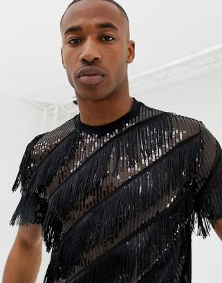 Asos DESIGN relaxed t-shirt in all over sequin t-shirt with fringing and beading in black