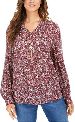Style&Co. Style & Co Floral-Print Peasant Tunic Top