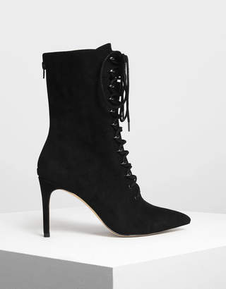 Charles & Keith Speed Lacing Detail Pointed Boots