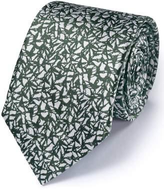 Charles Tyrwhitt Khaki Silk Classic Abstract Texture Tie