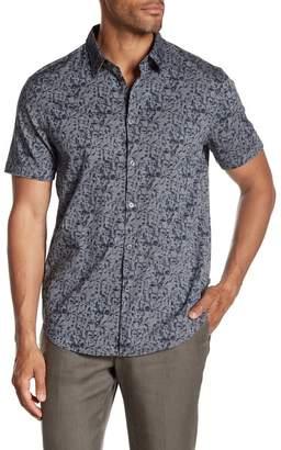 John Varvatos Cuff Short Sleeve Print Shirt