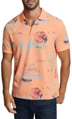 Nautica Artist Series Painted Map Classic-Fit Cotton Polo