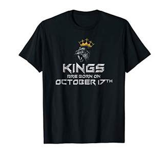 Mens Kings Are Born In October On 17th Funny Birthday T-shirt