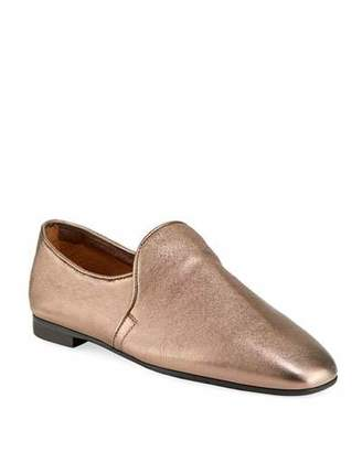 Aquatalia Revy Flat Metallic Leather Loafers