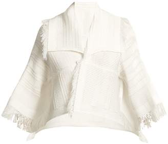 Issey Miyake Fringed pleated cropped jacket