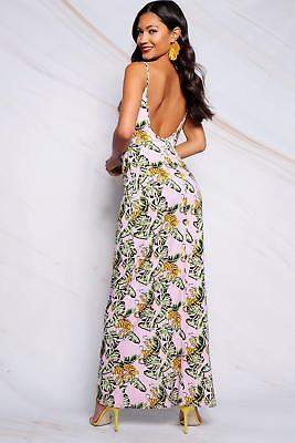 boohoo NEW Womens Low Back Tropical Print Strappy Maxi Dress in Viscose