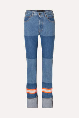 Calvin Klein Appliquéd Two-tone High-rise Straight-leg Jeans - Blue