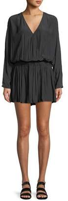 Ramy Brook Mabel Ruched Long-Sleeve Mini Dress