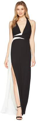 Halston Sleeveless V-Neck Gown w/ Contrast Sash Women's Dress
