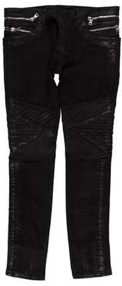 Balmain Zip-Accented Coated Biker Jeans