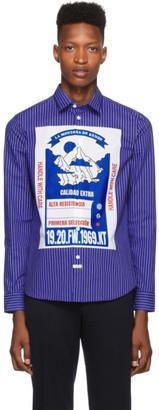 Kenzo Blue Striped Mountain Slim-Fit Shirt