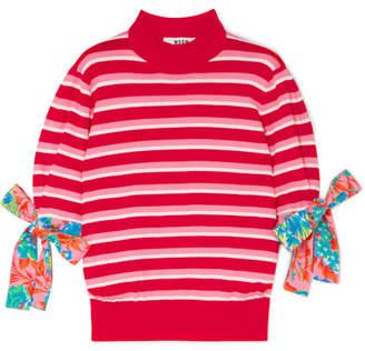 MSGM Poplin-trimmed Striped Cotton Sweater