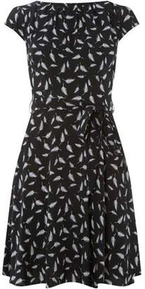 Womens **Billie & Blossom Black Feather Print Skater Dress