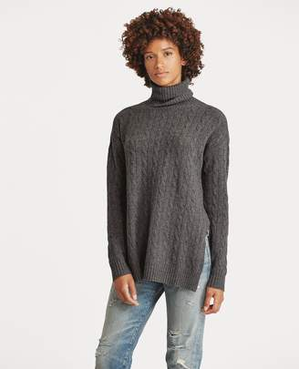 Ralph Lauren Slit Cable Turtleneck Sweater