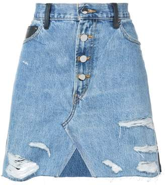 Amiri contrasting frayed denim skirt