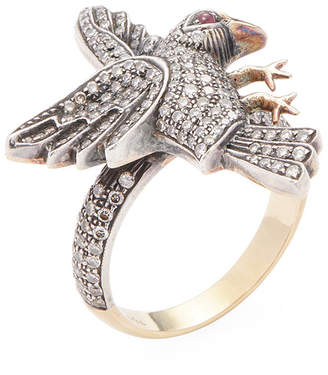Amrapali 14K, Ruby & 1.10 Ct. Tw. Diamond Bird Ring