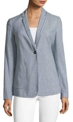 T Tahari Striped Linen-Blend Blazer with Trim