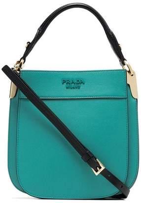 7749f16152aedf Prada aquamarine Margit dual handle leather crossbody bag