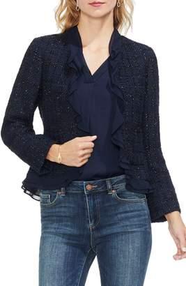 Vince Camuto Ruffle Trim Tweed Jacket
