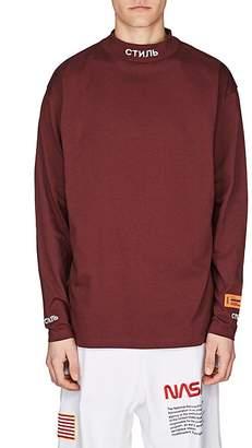 Heron Preston Men's Embroidered Cotton Mock-Turtleneck T-Shirt
