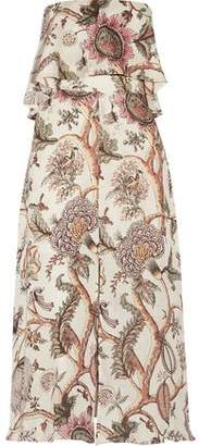 Zimmermann Strapless Printed Silk-Crepe Midi Dress