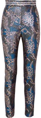 Peter Pilotto Metallic Jacquard Tapered Pants - Blue